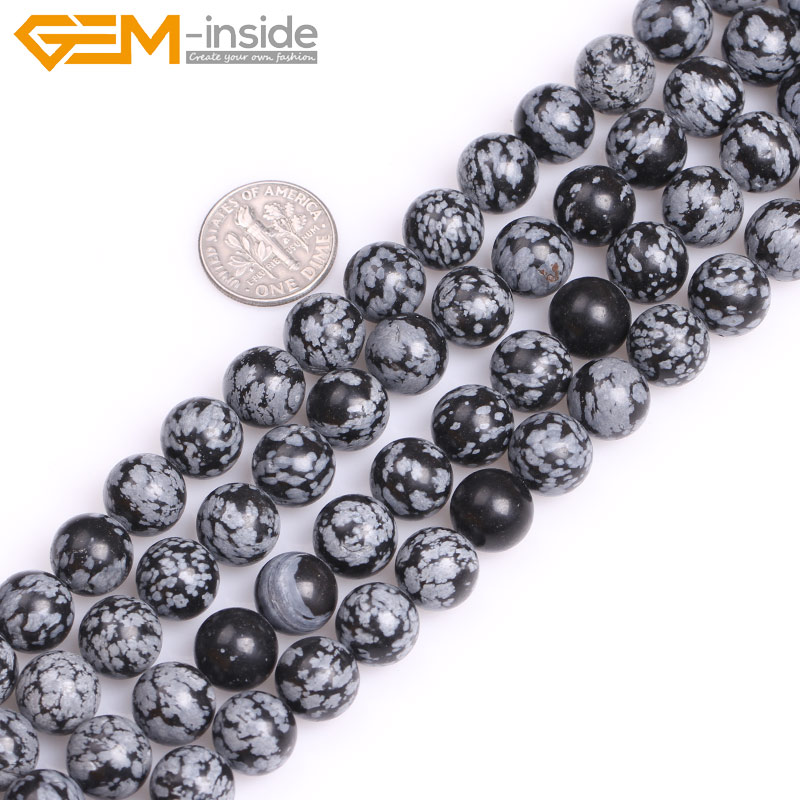 Hematite and Snowflake Obsidian Gemstone Beaded Necklace Earring Set