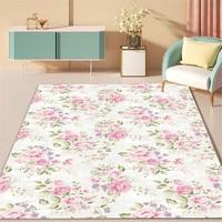 Nordic Frische Rosa Rose Muster Weiß Teppich Für Mädchen Zimmer Schlafzimmer Nacht Matte Antislip Teppich Für Küche Boden Bad Matte decor