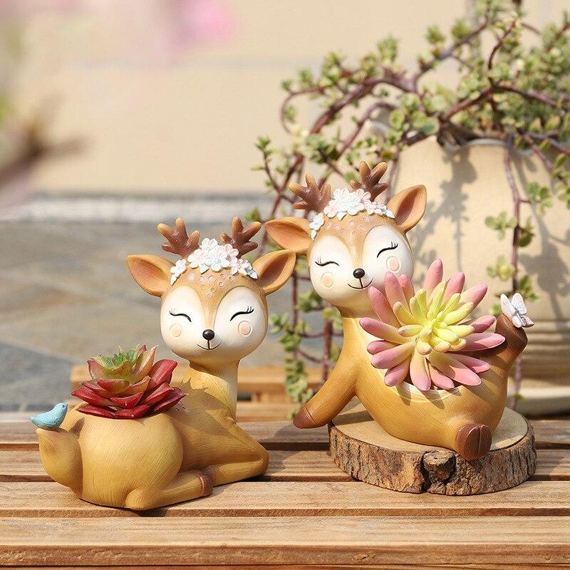 1 piece Cartoon Deer Flowerpot Succulent Planter Pots Animal Sika Deer Craft Desktop Cactus Flower Pot Fairy Garden Decor (10)
