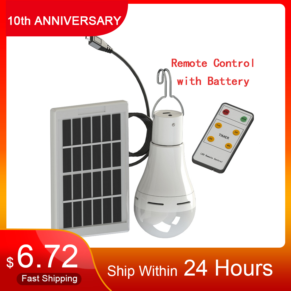 LED Solar Remote Control Light Solar Bulb Lamp Indoor Waterproof Panel Emergency Plastic Bulb Hook Tent Lantern Outdoor