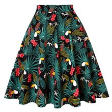 Parrot Green Womens Plus Size Women Cotton Skirt Tutu Women Floral School jupe femme High Waist Big Swing Rockabilly 50s Skirt(China)