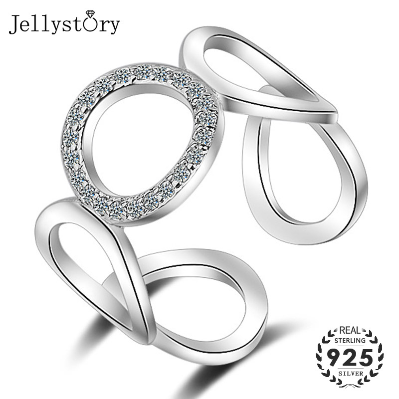 Jellystory Fashion Open Ring 925 Silver Jewellery with Geometric Shaped Zircon Gemstones Rings for Women Wedding Gifts wholesale