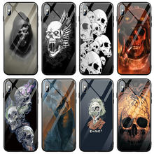 For iPhone 5 5S SE 6 6S 7 8 X XR XS 11 Pro Max Plus Tempered Glass Phone Cases Back Cover Terror Skull Artwork(China)