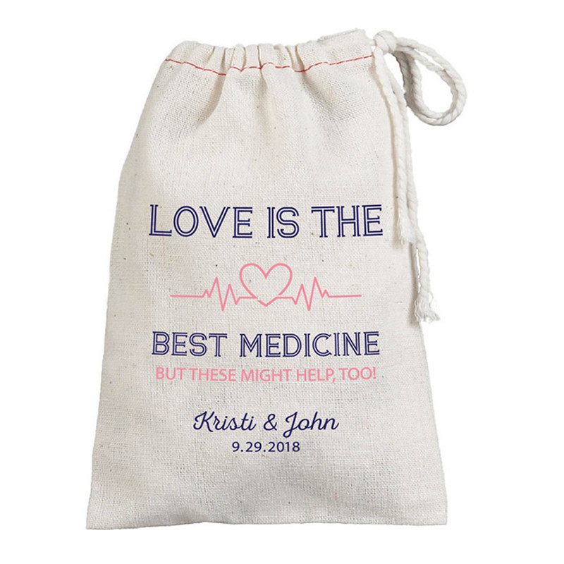 Love Is The Best Medicine Custom Wedding Survival Kit Bags Bachelorette Decor Hen Weekend Gift Bag Bridesmaid Favor Remedy Bags