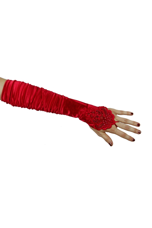 Grace Fingerless Long Gathered And Beaded Gloves(red)