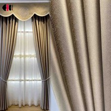 Luxury Golden Blackout Curtains for Living Room Faux Linen Velvet  Villa Thermal Insulated French Window Drapes JS327D