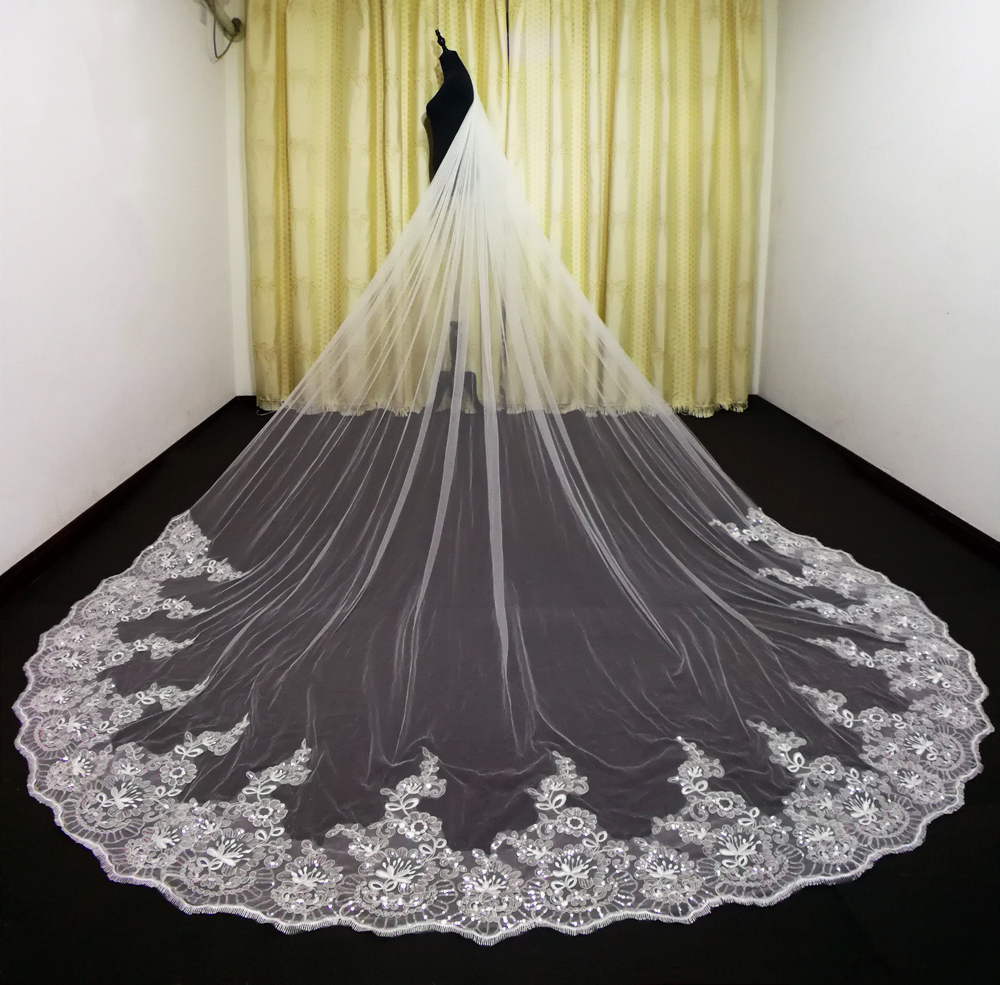 Romantic Wedding Bridal Veils Cathedral Length Lace  Custom Made Crystals veils 3m 4m veils wedding accessories