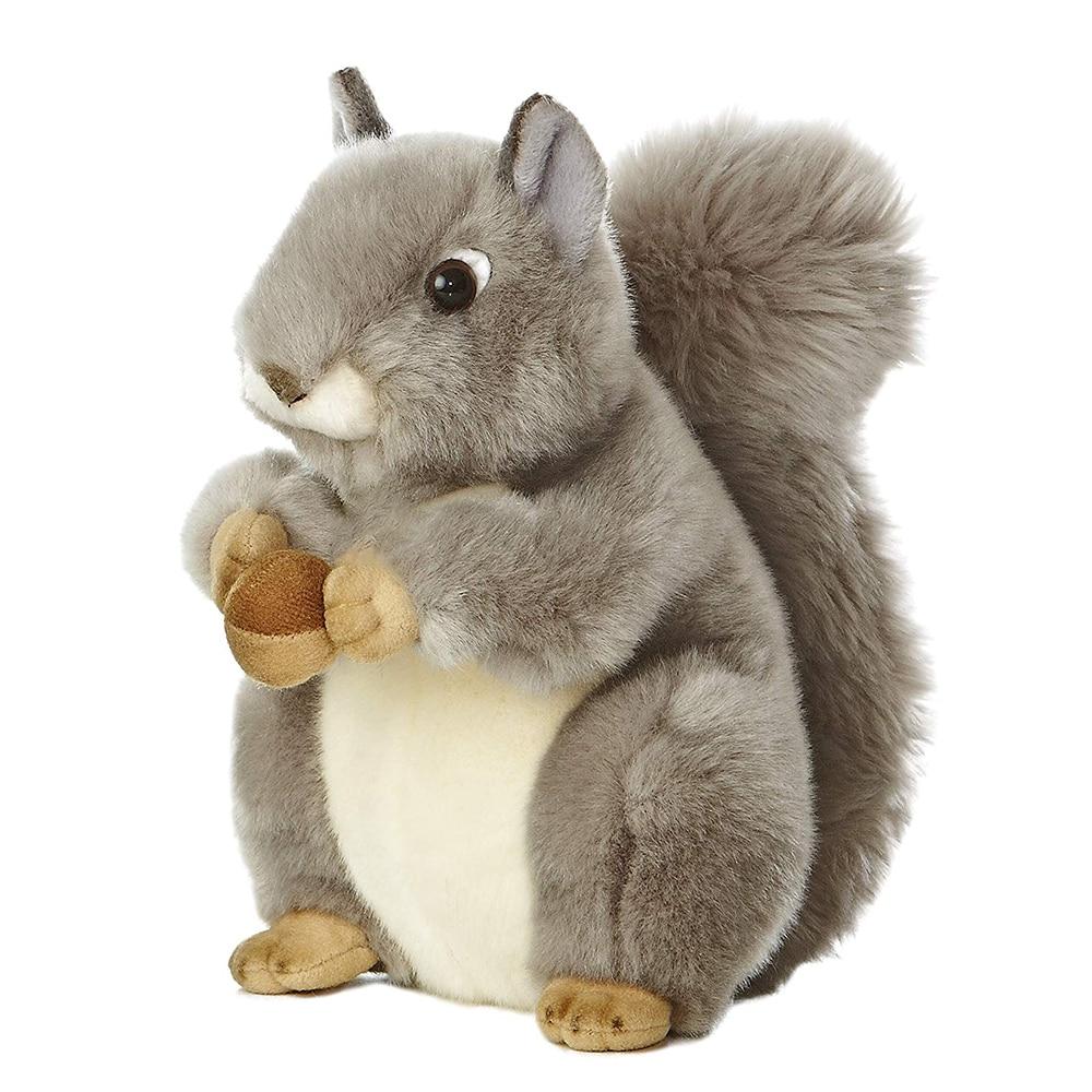 Белая плюшевая белка Kathyland Wild World Miyoni, 8 дюймов, арахисовая плюшевая белка, Реалистичная плюшевая игрушка