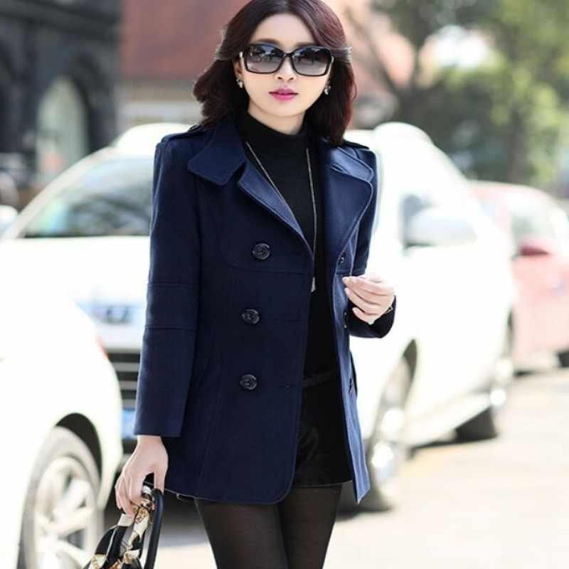 Jesień Brand nowa dama moda damska zima koreański, slim Fit płaszcze wełniane podwójne piersi krótkie kurtki znosić ciepłe kurtki kurtka