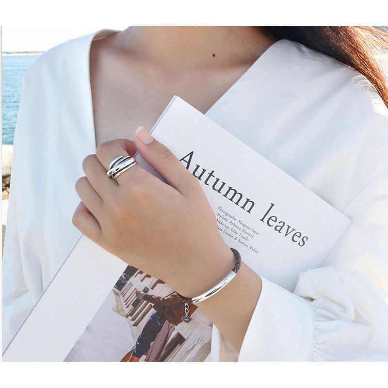 925 anillos de plata esterlina para mujer, anillos irregulares geométricos ajustables bohemios, joyería de novedad exagerada S-R406
