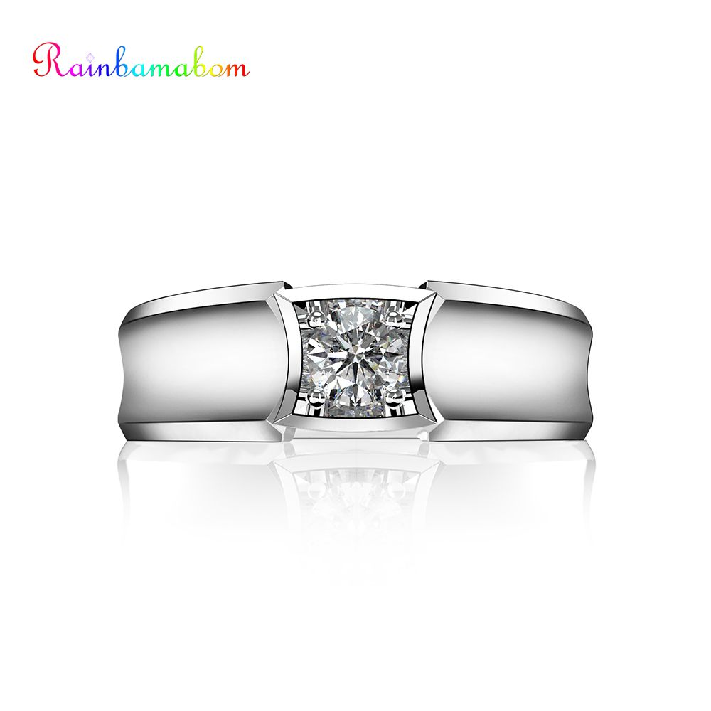 Rainbamabom 925 Sterling Silver Created Moissanite Gemstone Wedding Engagement Unisex Men Women Ring Fine Jewelry Wholesale