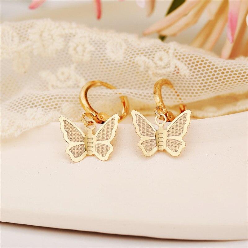 VAGZEB 2020 New Fashion Bohemian Punk Vintage Earrings Jewelry Gold Silver color Matte Butterfly Drop Earrings for Women