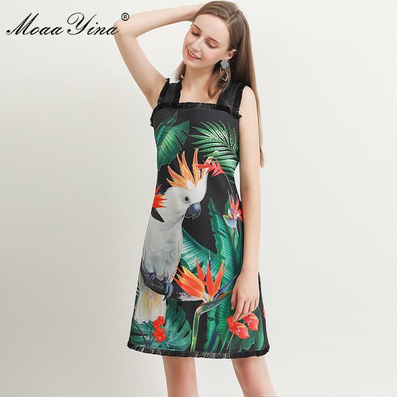 MoaaYina Fashion Designer dress Spring Summer Womens Dress Green  leaf Parrot Print Beading Spaghetti strap DressesDresses   -