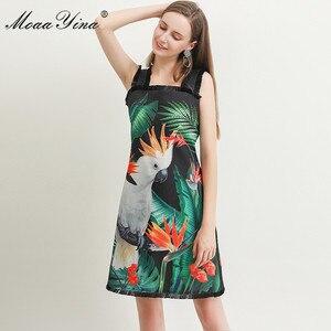 Image 1 - MoaaYina robe de créateur de mode printemps été femmes robe vert feuille perroquet impression perles Spaghetti sangle robes