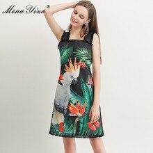 MoaaYina אופנה מעצב שמלת אביב קיץ נשים של שמלת ירוק עלה תוכי הדפסת ואגלי ספגטי רצועת שמלות