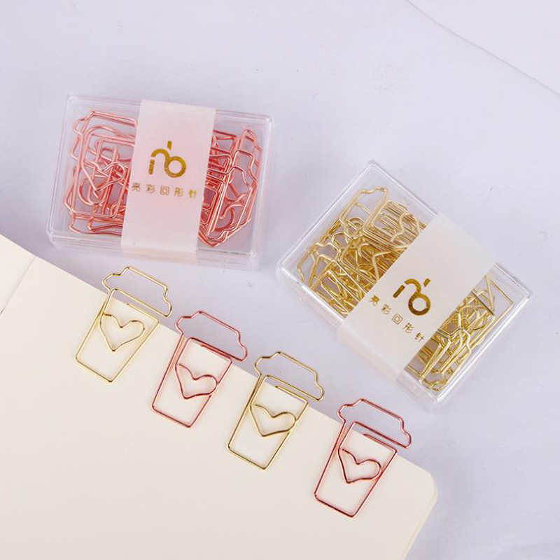 12 Pcs/pack Kawaii Gold Rose Gold Coffee Cup Shape Hollow Out Metal Paper Clips Note Message Photo Binder Clips Stationery Gift