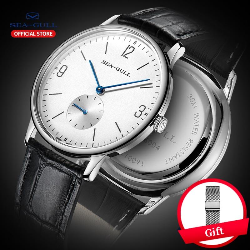 Seagull Brand Men's Watch Ultrathin Manual SelfWind Mechanical Mechanical Wristwatches Top Mens Business Leather Watchband