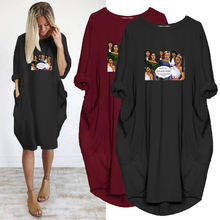 Размера плюс 5xl женское платье черного цвета с красивым принтом