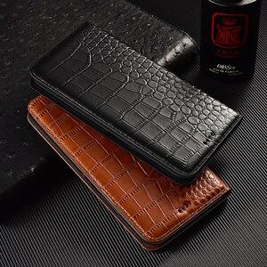 Image 1 - Crocodile Echtes Flip Leder Fall Für Xiaomi Redmi Hinweis 2 3 4 4X5 5A 6 6A 7 8 8T 7A K20 K30 Pro Plus Handy Abdeckung Brieftasche
