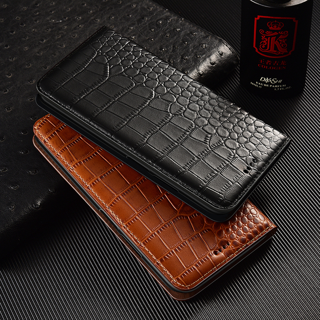 Crocodile Genuine Flip Leather Case For Huawei Y5 Y6 Y6S Y7 Y9 Y9S Y5P Y6P Y7P Y8P Prime 2017 2018 2019 2020 Phone Cover Cases