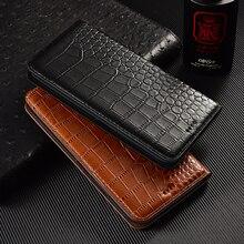 Crocodile Genuine Flip Leather Case For Xiaomi Mi 4 5 5S 5X 6 6X 8 9 9T 10 CC9 CC9e A1 A2 A3 Note 10 Plus Lite Pro SE Cover