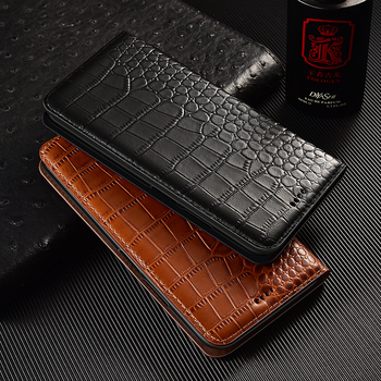 Crocodile Genuine Flip Leather Case For Xiaomi Redmi Note 2 3 4 4X 5 6 7 8 8T K20 K30 10X 5G Pro S2 Go Plus Cell Phone Cover