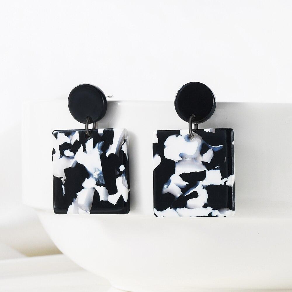 WYBU квадратная Подвеска из ацетатного волокна с мраморным узором, серьги-капли для женщин, черный и белый цвет, глоссария, серьги, светильник,...