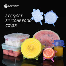 WORTHBUY 6 Pcs/Set Food Silicone Cover Caps Fresh Adaptable Silicone Cover Lids Reusable Eco-Friendly For Kitchen Accessories