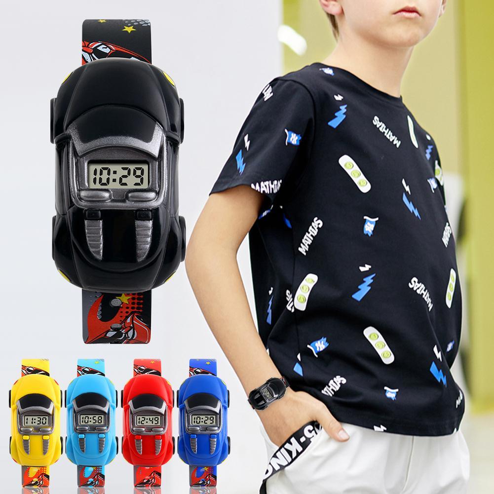 1PC Children Kids Boy Watches Cartoon Car Toy Digital LED Quartz Sports Electronic Quartz Sport Watch Shock Wrist Watch 30E