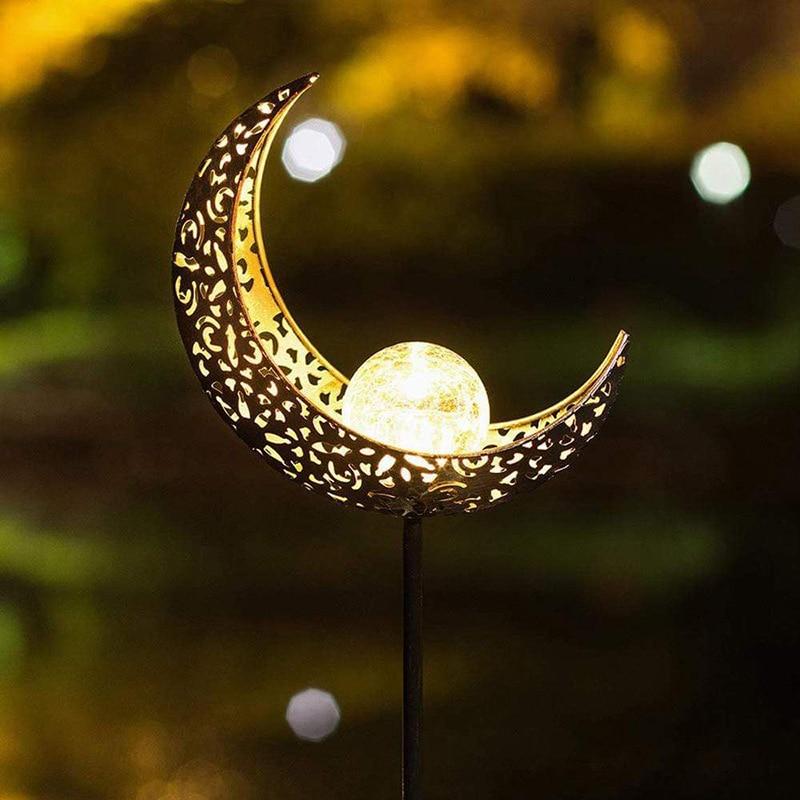 Светодиодный светильник на солнечной батарее с пламенем, садовый металлический ажурный проекционный светильник для наружного применения, ...