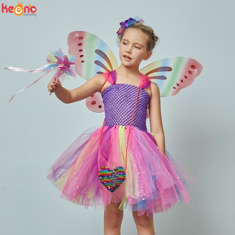 Girls Butterfly Fairy Fancy Tutu Dress Wings Costume Kids Princess Birthday Party Halloween Cosplay Kids Spring Tulle Dress 1