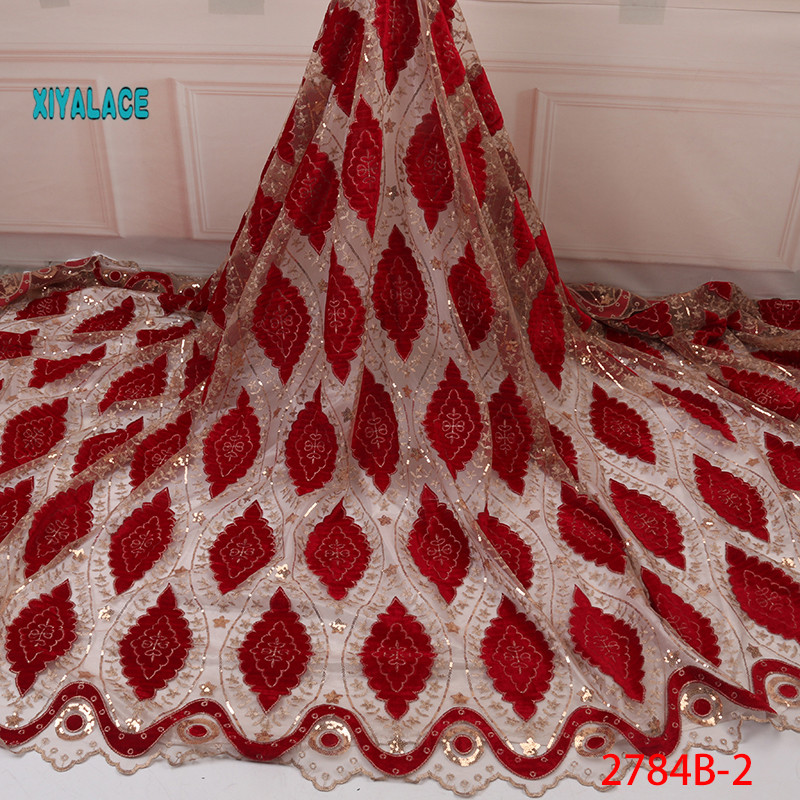 2019 Nigerian Luxury High Quality French Sequins Lace Fabric African Lace Fabric Velvet Fabric Lace Fabrics Wedding YA2784B-2