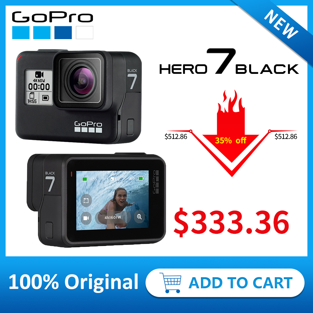 GoPro HERO7 noir étanche Action sport caméra avec écran tactile Go Pro HERO 7 12MP Photos stabilisation en direct en Streaming