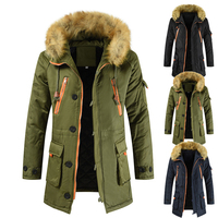 2019 New Products Mid length Cotton Coat Men's Brushed And Thick Warm Coat Ultra Large Fur Collar Cotton padded Clothes Couples