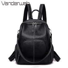 Multifunction Women Backpack Female Soft Leather Casual Blac