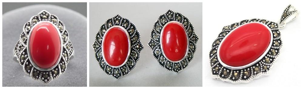 Bague ovale en argent Sterling 925 Marcasite en laque sculptée rouge (#7-10)