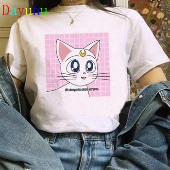 Kawaii Funny Cat Graphic Tees Women Summer Top Cartoon Cat T Shirt Japanese Style Aesthetic Harajuku Tshirt Ulzzang Shirt Female