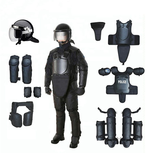black matte high impact Resistant Training Security Helmet protective equipment full body armor Anti riot protection suit