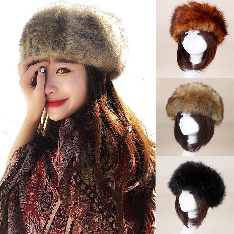 Winter Warm Faux Fur Fox Bomber Hats for Women Solid Thicken Earflap Fur Caps Solid Snow Hats Warmer Winter Autumn Fashion Hat
