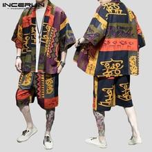 Suit Cardigan-Shirt Men-Sets Half-Sleeve Loose INCERUN Men's Shorts Printed Street Casual
