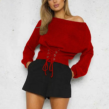 Women Slash Neck Knitted Sweater Solid Cross Lace Up Pullover Autumn Winter Bat Sleeve Sweaters Pullovers slash neck lace up plaid blouse