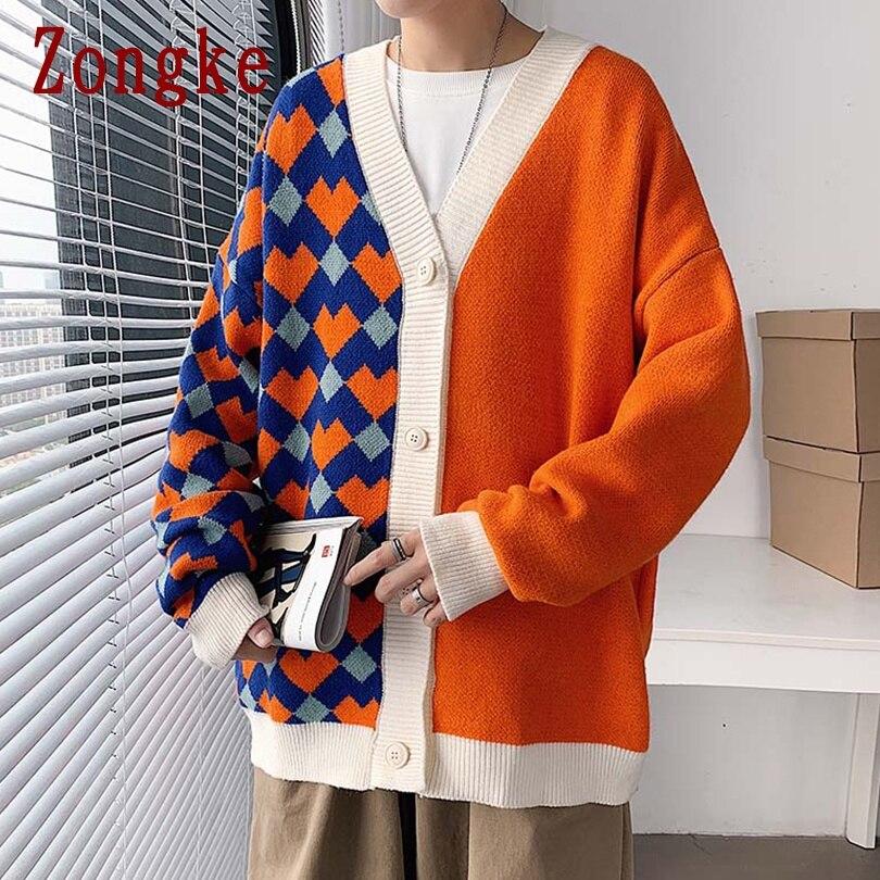 Zongke 2020 осенний Повседневный Кардиган с v образным вырезом в стиле пэчворк, мужской свитер, свитера для мужчин, приталенный корейский трикотаж, зимняя одежда M 2XL Кардиганы    АлиЭкспресс