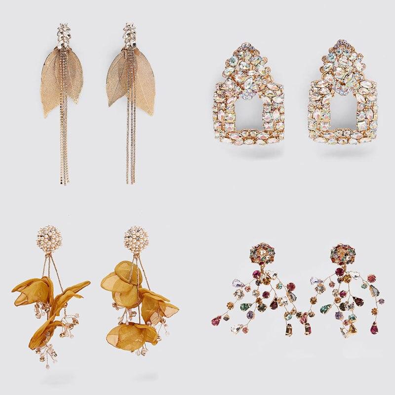 Dvacaman 2020 ZA Charm Gold Leaf Tassel Long Drop Earrings for Women Luxury Shiny Rhinestone Statement Earrings Jewelry Bridal