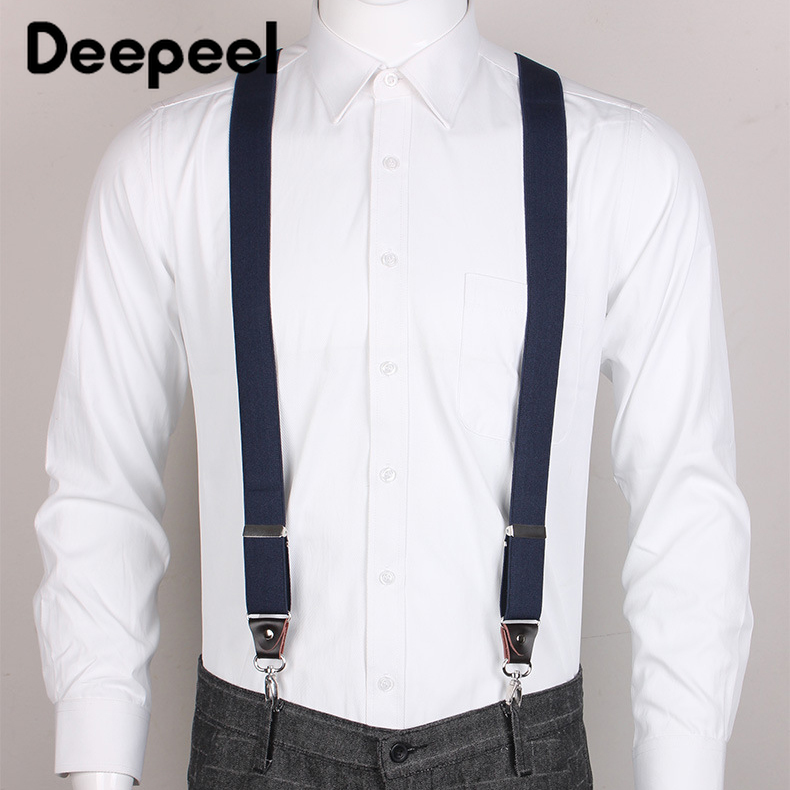 Deepeel 1pc 3.5cm*120cm Unisex Adult 4 Clip Hook Suspenders X Type Wild Sanp Buckles Suspenders Suit Trousers Adjustable Strap