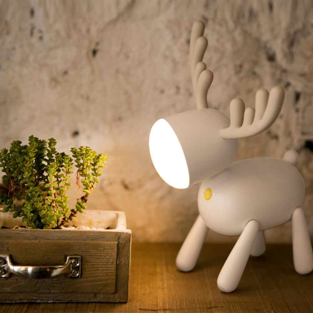 Neue 1Pc Cartoon Hirsche Elch Nacht Licht Dreh Schwanz Einstellbare Timing Multicolor USB Lampe Kinder Schlafzimmer Home Decor