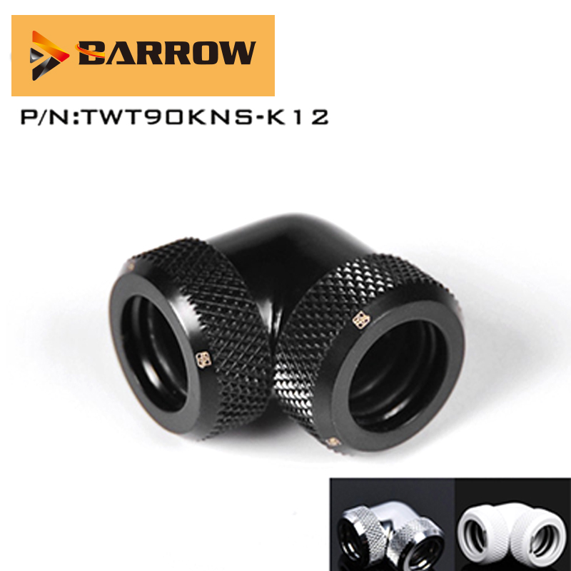 Barrow TWT90KNS-K12, Water Cooling Connector 90 Degree Hard Tube Fittings, G1/4 Adapters For Double OD 12mm Hard Tubes Connected