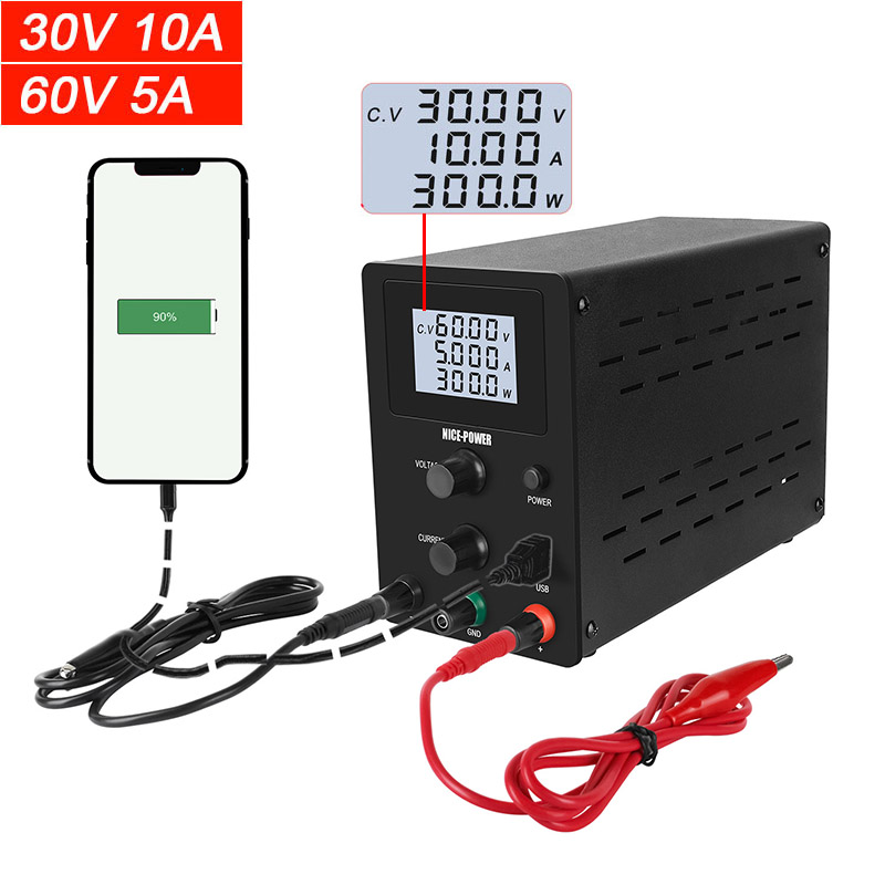 0.001A USB Adjustable laboratory power supply DC 30V 10A LCD regulated power supplies 60V 5A voltage stabilizer for phone