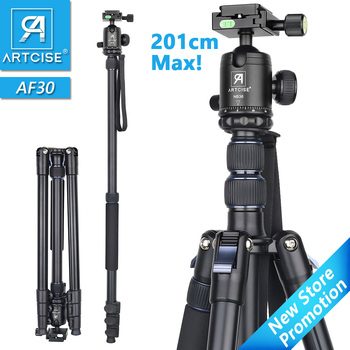 Aluminum Alloy Tripod 201cm/79in Max Height Professional High Monopod Stand For DSLR Camera Fast Flip Lock CNC Ball Head