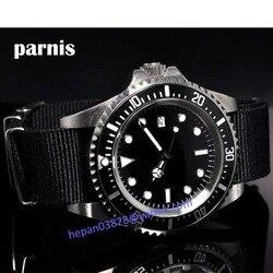 Zegarek Parnis 42mm sterylna czarna tarcza tkanina Luminous SEA hołd automatyczny ruch własny wiatr zegarek męski p10 relogio masculino