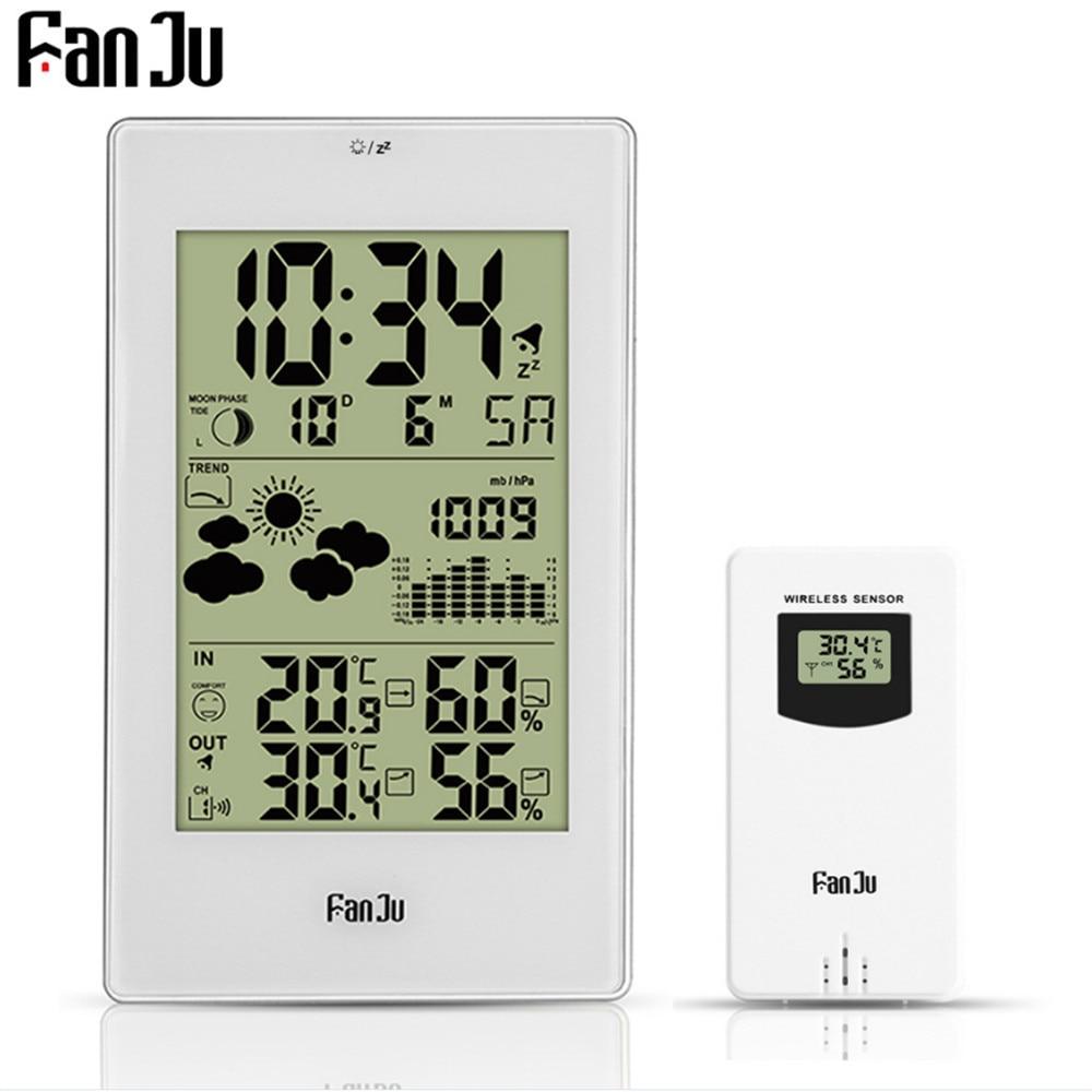 FanJu Digital Weather Station Alarm Wall Clock Temperature Humidity Wireless Outdoor Sensor Thermometer Hygrometer Clock New